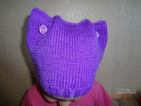 Cap with ears. The work of Alexandra Milichenko knitting and knitting scheme