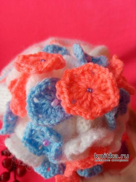 Весенняя шапка для девочки спицами. Работа Ольги вязание и схемы вязания
