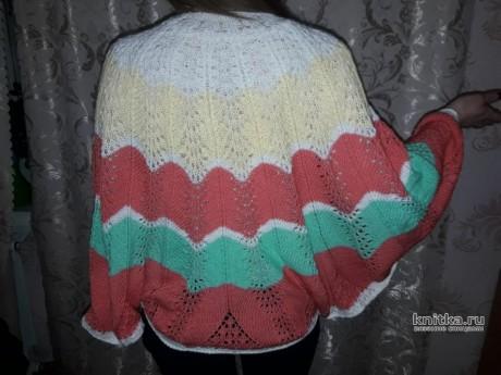 Жакет - пончо спицами Крылья бабочки. Работа Вагановой Татьяны вязание и схемы вязания