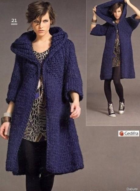 Пальто с капюшоном из толстой пряжи