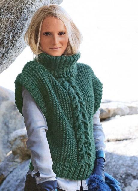 Пуловер с высоким горлом из толстой пряжи