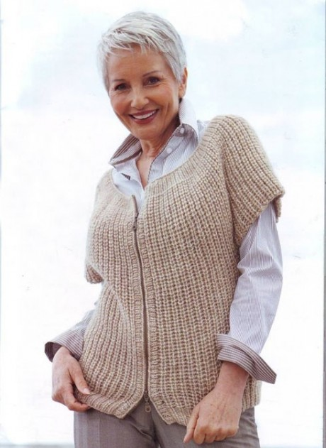 Knit sleeveless jacket Elegant simplicity, diagrams and description