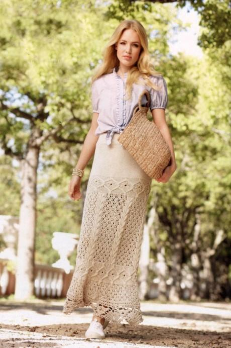 Длинная юбка с ажурной каймой, схема