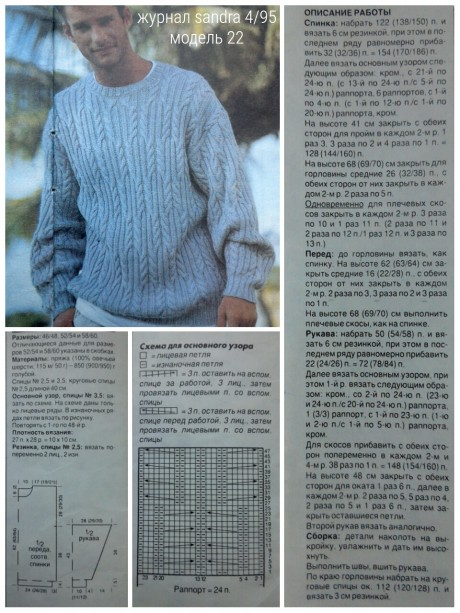 Схема вязания и описание пуловера