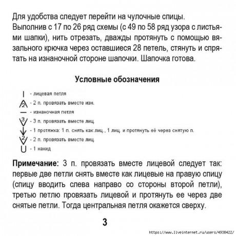 Вязаная шапочка спицами Первые листочки, бесплатное описание 3