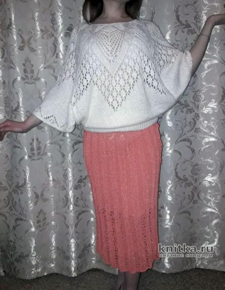 Ажурная кофточка из мохера. Работа Вагановой Татьяны. Вязание спицами.