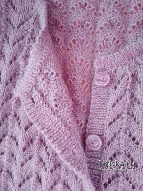 Ажурная вязаная женская кофта на пуговицах. Работа Вагановой Татьяны вязание и схемы вязания