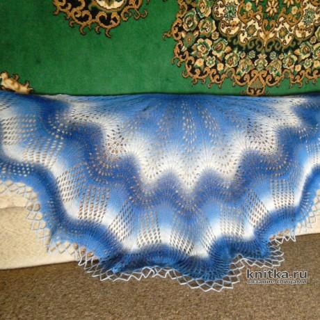 Две шали Султан связаны спицами из пряжи Кауни. Вязание спицами.