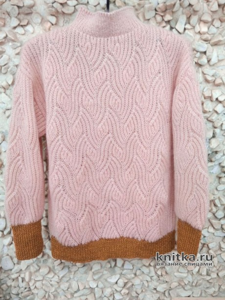 Пуловер с рельефным узором в технике бриошь. Работа Вагановой Татьяны вязание и схемы вязания