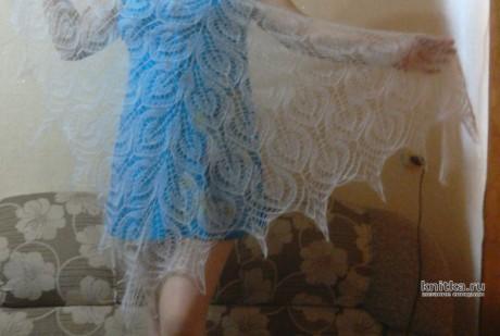 Шаль Гейл из итальянского мохера. Работа Александры Миличенко вязание и схемы вязания