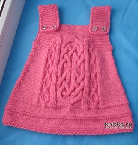 Вязанный спицами сарафан для девочки. Работа Elena. Вязание спицами.