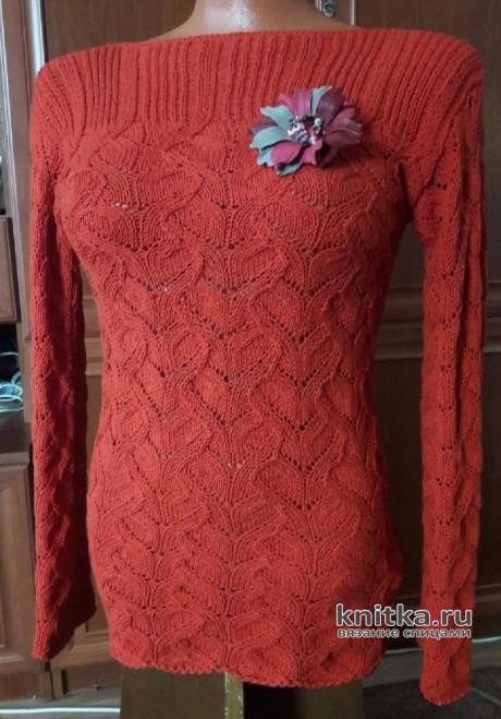 Вязаный пуловер с красивым узором. Работа Марины Ефименко вязание и схемы вязания