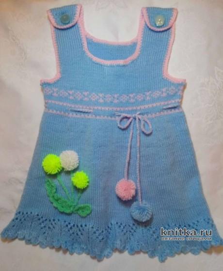 Вязаный сарафанчик для девочки 2-3 лет. Работа Ольги. Вязание спицами.