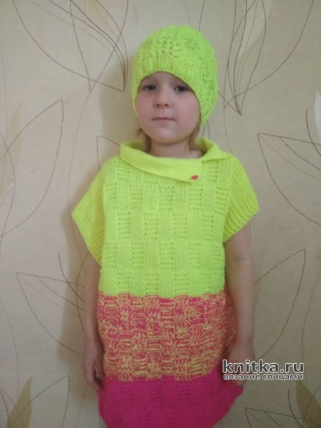 Вязаный жилет и шапочка для девочки. Работы Александры Миличенко. Вязание спицами.