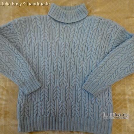 Зимний мужской пуловер спицами. Работа Julia Easy. Вязание спицами.