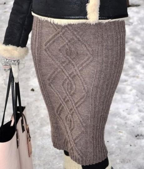 Теплая юбка со схемой вязания