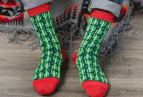 Мужские вязаные носки Кактус пустыни. Вязание спицами.