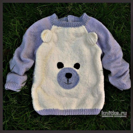 Детский свитер спицами. Работа Любови. Вязание спицами.