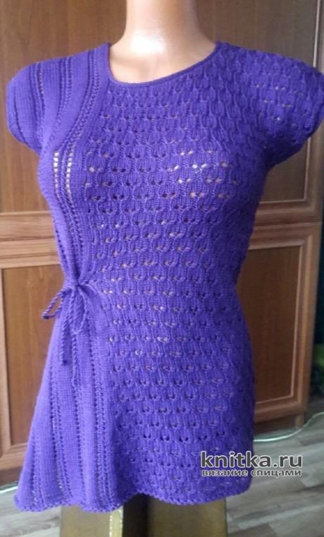 Летняя кофточка спицами. Работа Марины Ефименко вязание и схемы вязания