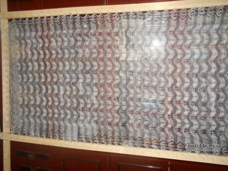 Палантин спицами из козьего пуха. Работа Нины Ивановны вязание и схемы вязания