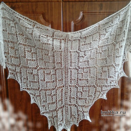Вязаная шаль из мохера. Работа Александры Миличенко вязание и схемы вязания