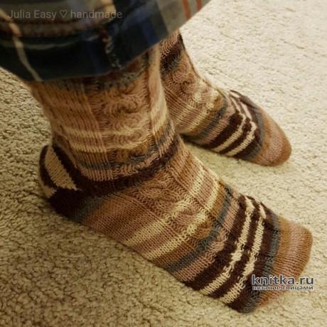 Вязаные мужские носки спицами. Работа Julia Easy вязание и схемы вязания