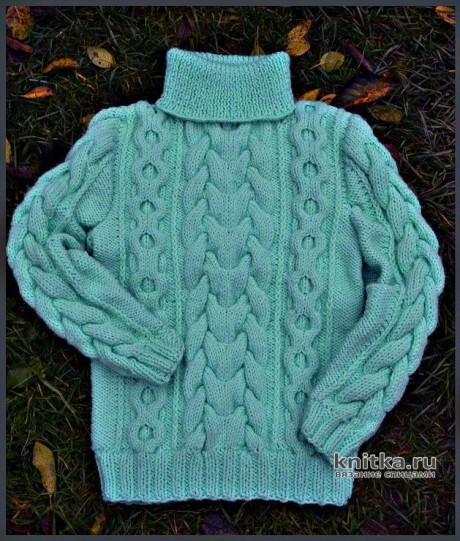 Вязаный детский свитер. Работа Любови. Вязание спицами.