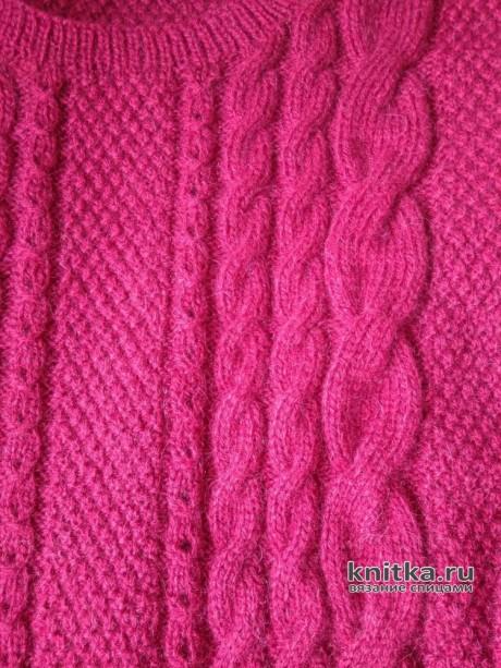 Вязаный джемпер с продольными косами. Работа Вагановой Татьяны вязание и схемы вязания