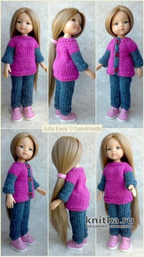 Вязаный костюм для куклы Paola Reina. Работа Julia Easy вязание и схемы вязания