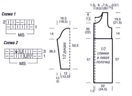 Схема вязания пальто