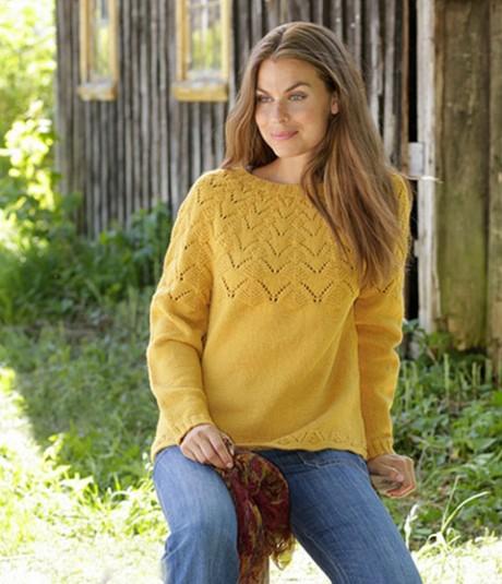 Джемпер Golden Fairy спицами с красивой кокеткой