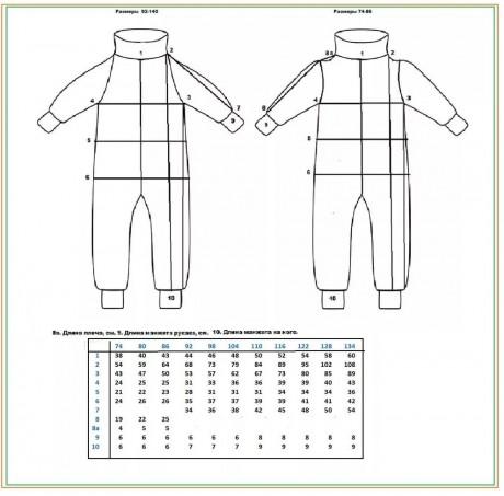 Примерная размерная сетка для детских комбинезонов