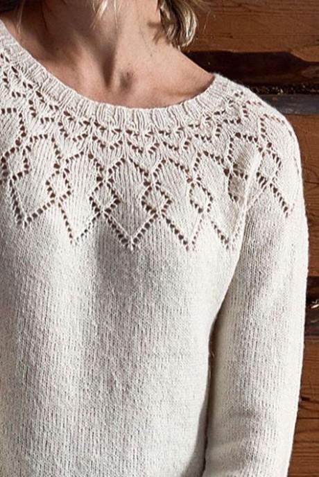 Платье на ажурной кокетке (вязание спицами)