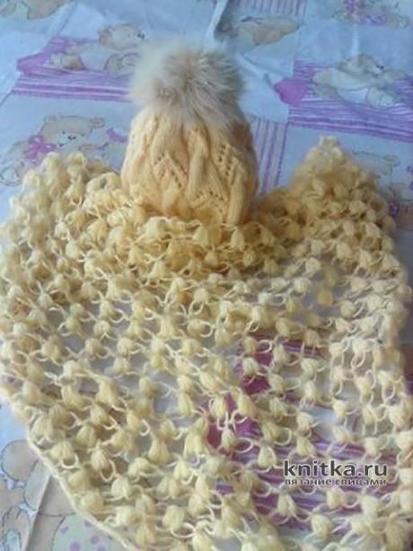 Комплект из вязаной шапки и шали. Работа Оксаны. Вязание спицами.