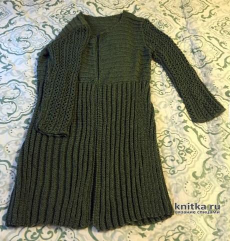 Пальто-жакет с ажурными рукавами. Работа Вагановой Татьяны. Вязание спицами.