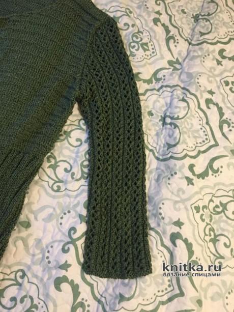 Пальто-жакет с ажурными рукавами. Работа Вагановой Татьяны вязание и схемы вязания