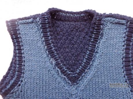Вязаный жилет для мальчика. Работа Елены вязание и схемы вязания