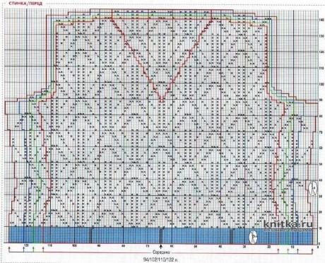 Кофточка с ажурным листовым узором. Работа Вагановой Татьяны вязание и схемы вязания