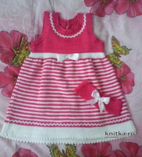 Платье для девочки спицами. Работа Арсентьевой Марины вязание и схемы вязания