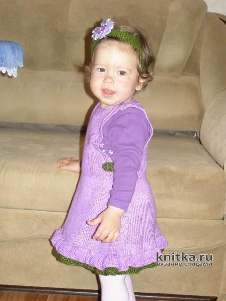 Сарафан для девочки спицами. Работа Арсентьевой Марины вязание и схемы вязания