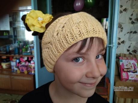 Вязаная повязка - корона для девочки. Работа Валерии вязание и схемы вязания