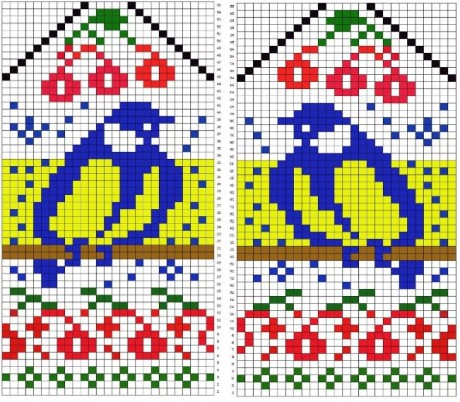узоры для вязания варежек