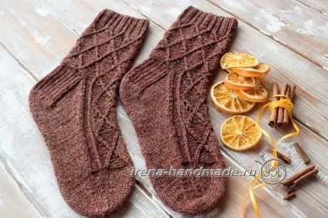 Ажурные носки спицами Корица, бесплатное описание