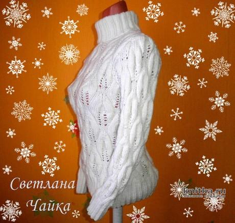 Ажурный женский свитер спицами. Работа Светланы Чайка вязание и схемы вязания