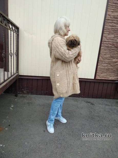 Вязанная спицами женская куртка. Работа Татьяны Ивановны вязание и схемы вязания