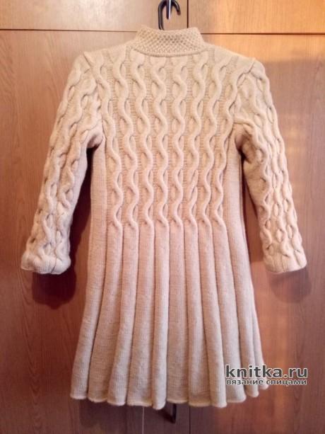 Вязаное пальто для девочки 6-7 лет. Работа Ольги вязание и схемы вязания