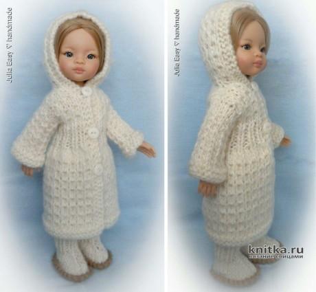 Зимнее пальто с капюшоном для куклы Paola Reina. Работа Julia Easy. Вязание спицами.