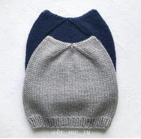 Кото-шапка спицами, описание и схема вязания