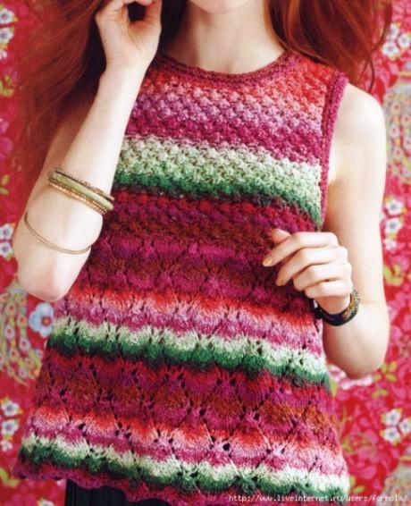 Вязание разноцветной безрукавки