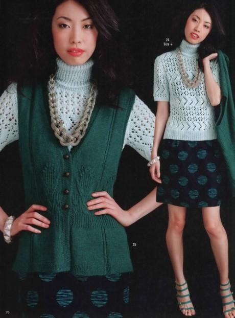 Вязание спицами зеленого жилета